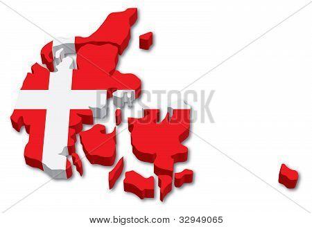 3D Denmark map with flag