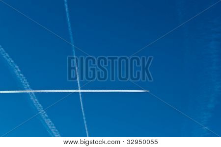 Aircraft Contrails In The Sky