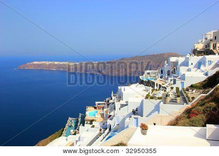Village of firostefani at Santorini island in the Cyclades, aegean sea, Greece