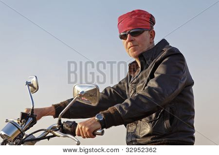 Horizontal Causasian Motorbiker Bandana Shades