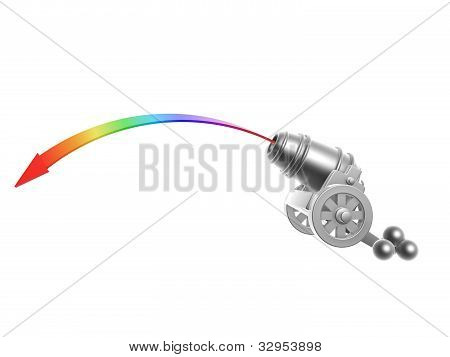 Cannon With Rainbow Trajectory