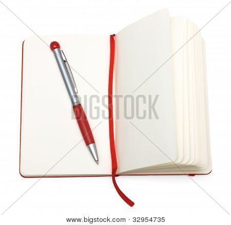 Red Open Notepad (paper) With Pen And Bookmark