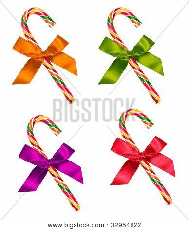 Set Of Candy Cane With Bow Isolated On White