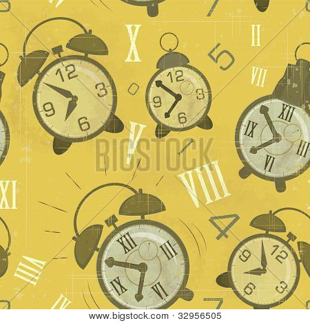 Vintage Seamless Background With Alarm Clocks