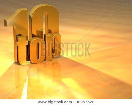 3D Top 10 Gold Text
