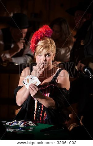 Showgirl With Hand Of Cards