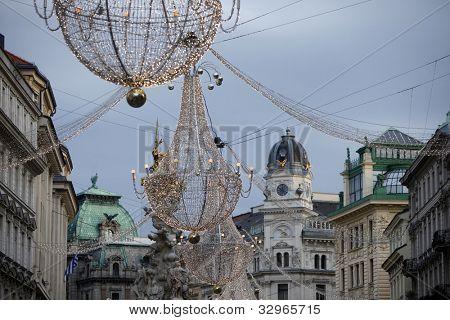 VIENNA, AUSTRIA - DECEMBER 09: famous Graben street by night on December 09,2011 in Vienna, Austria. The Graben traces its origin back to the old Roman encampment of Vindobona.