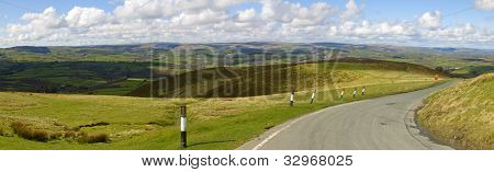 Panoramic view narrow road Welsh hills from the Mynydd Epynt, Wales UK.