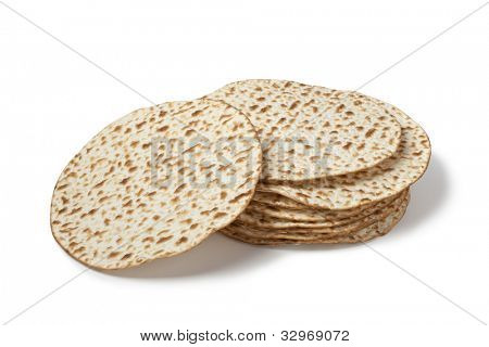 Fresh pile of matzah on white background