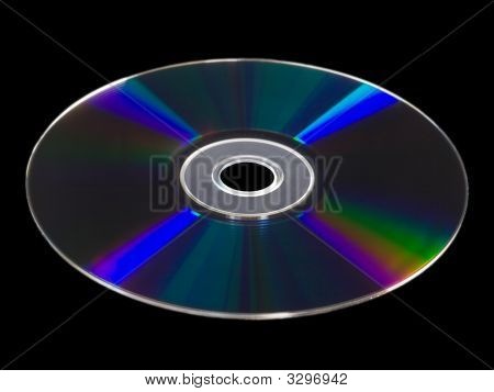 Blu Ray Disc Isolated Against Black Background