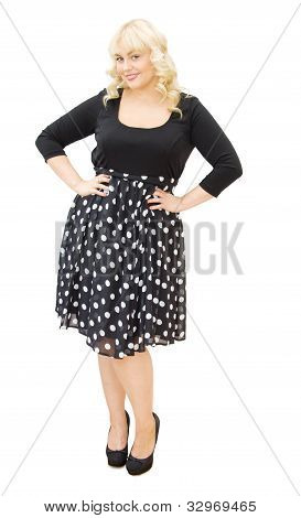 Chic In Polka Dots Dress - Beautiful Woman Smiling