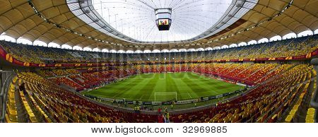 BUCHAREST, ROMANIA - MAY 9, 2012: Bucharest National Arena before Europa league final game. Club Atletico de Madrid's wins UEFA Europa League on May 9, 2012 in Bucharest, Romania.