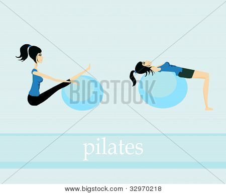 two girl pilates exercise set