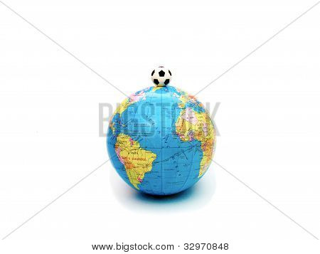 Football world symbolized by the soccer ball