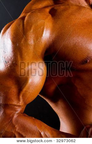 closeup of athletic torso and arm on black background
