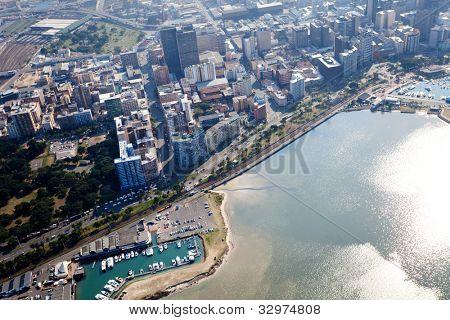 obenliegende Ansicht von Durban Stadt Cbd, Südafrika
