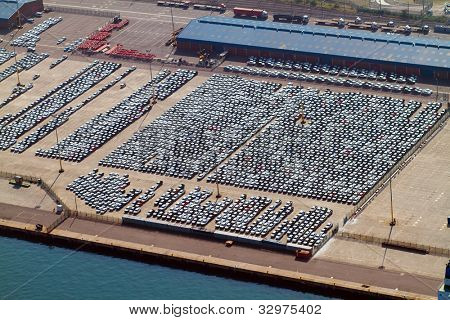 aerial view of large amount of automobiles parked at durban harbour, south africa