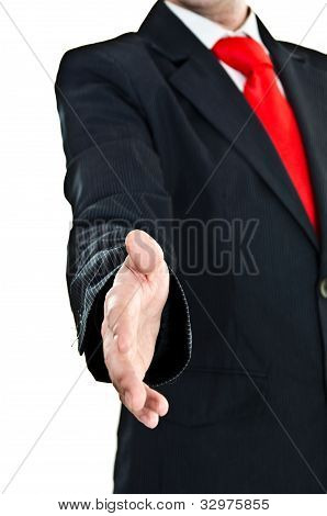 Businessman's Welcome Gesture