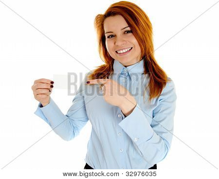 Redhead Woman Holding Businesscard