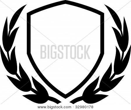 Vector Shield And Laurel Wreath Isolated