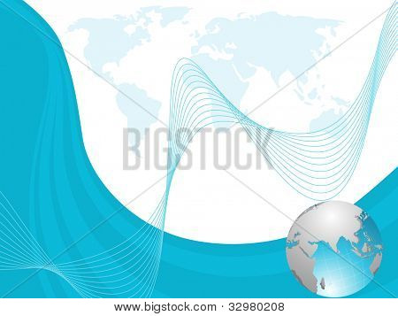 Professional Corporate or Business template for financial presentations showing globe in blue and silver metallic color on blue wave background. EPS 10. Vector illustration.