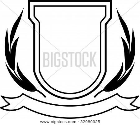 Vector Shield, Ribbon And Laurel Wreath