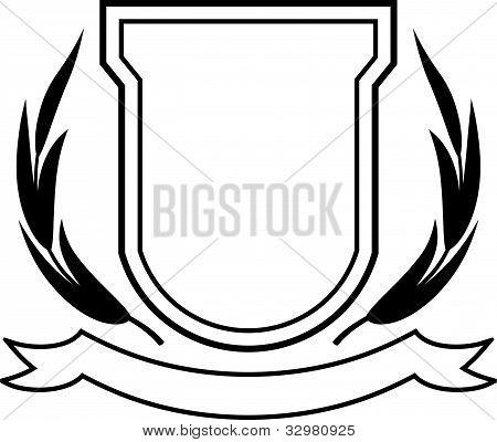 Vector Shield, Ribbon And Laurel Wreath