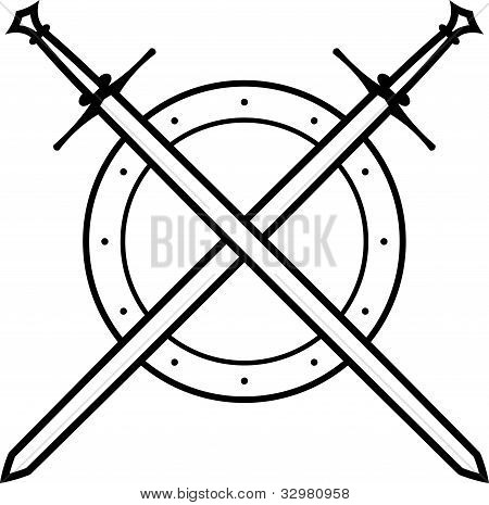 Vector Illustration - Medieval Shield And Swords