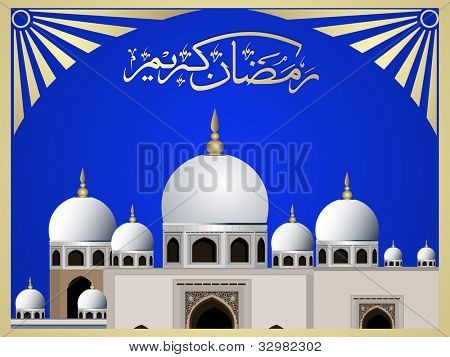 Arabic Islamic calligraphy of Ramazan Kareem or Ramadan Kareem  text with Mosque or Masjid on modern abstract background with floral pattern & frame in blue and golden color. EPS 10. Easy to edit.