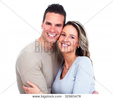 Happy couple. Isolated on white background.