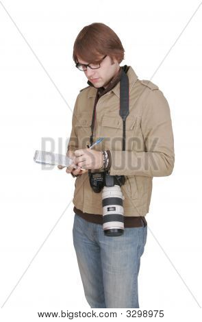 Male Journalist With Notepad