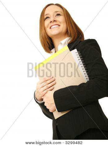 Happy Business Woman Carrying Files