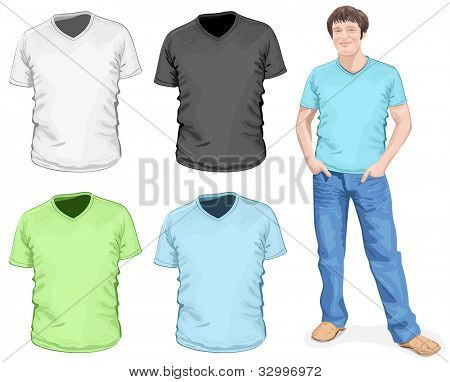 Vector. Men's v-neck t-shirt design template (front view)