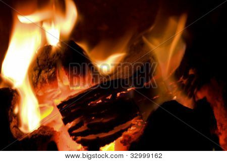 Peat Briquettes Burning