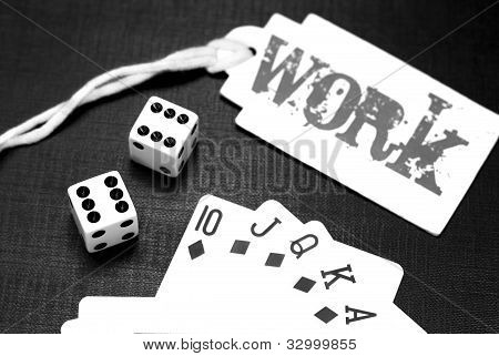 Dices And Playing Cards On A Black Background