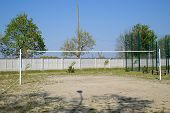 Volleyball Court And Net For Throwing The Ball. Yard Volleyball. poster