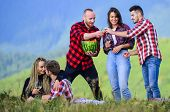 People Eating Food Drink Alcohol. Youth Having Fun Picnic In Highlands. Summer Adventures. Celebrate poster