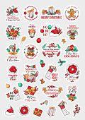 Christmas Holidays Christmas Stichers Clipart Vector Set. Winter Season Festive Hand Drawn Cartoon C poster
