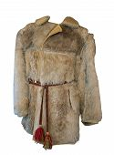 Antique Mens Clothing Isolated On White Background. Vintage Fur Coat With Belt .male Short Fur Coat  poster