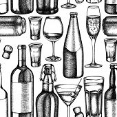 Seamless Pattern With Black And White Glass, Champagne, Mug Of Beer, Alcohol Shot, Bottles Of Beer,  poster