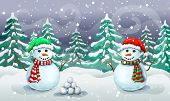 Christmas Snowy Scene With Couple Of Snowmen In Santa Hats. Christmas Card Template Or Holiday Banne poster