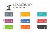 Leadership Infographic 10 Option Line Concept.responsibility, Motivation, Communication, Teamwork Si poster