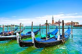 Gondolas And Bright Turquoise Water Of Canal. Grand Canal In Venice, Italy. Sunny Summer Vacations.  poster