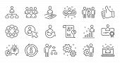 Management Line Icons. Business People, Algorithm And Group. Startup Strategy Linear Icon Set. Quali poster
