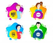Hot Price. People Shape Offer Badge. Special Offer Sale Sign. Advertising Discounts Symbol. Dynamic  poster