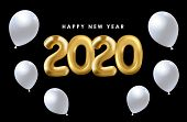 2020 Gold Balloon Text On A Black Background. New Year 2020. Creative Concept Of New Year Text Desig poster