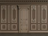 Classic Interior Wall With Copy Space.classic Wooden Boiserie With Gilded Mouldings.ornated Cornice. poster