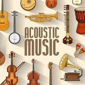 Musical Instruments And Sound Band Equipment. Vector Maracas And Banjo, Jazz Trumpet Or Saxophone An poster