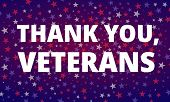 Veterans Day - Thank You, Veterans Greeting Card With Inscription On Blue Red Patriotic Background W poster