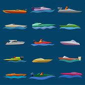 Boat Vector Speed Motorboat Yacht Traveling In Ocean Illustration Nautical Set Of Summer Vacation On poster
